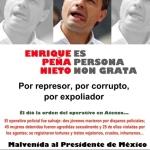 Malvenida al Presidente de México: 9 y 10 de Junio.   El responsable de la represión en Atenco, Peña Nieto, viene a Madrid