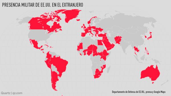 Presencia militar de EEUU en el mundo. infografia elaborada por el Departamento de Estado de EEUU
