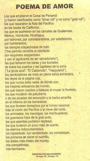 Roque Dalton. Poema de amor