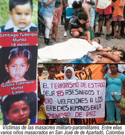 APARTADÓ COLOMBIE  ENFANTS MASSACRÉS