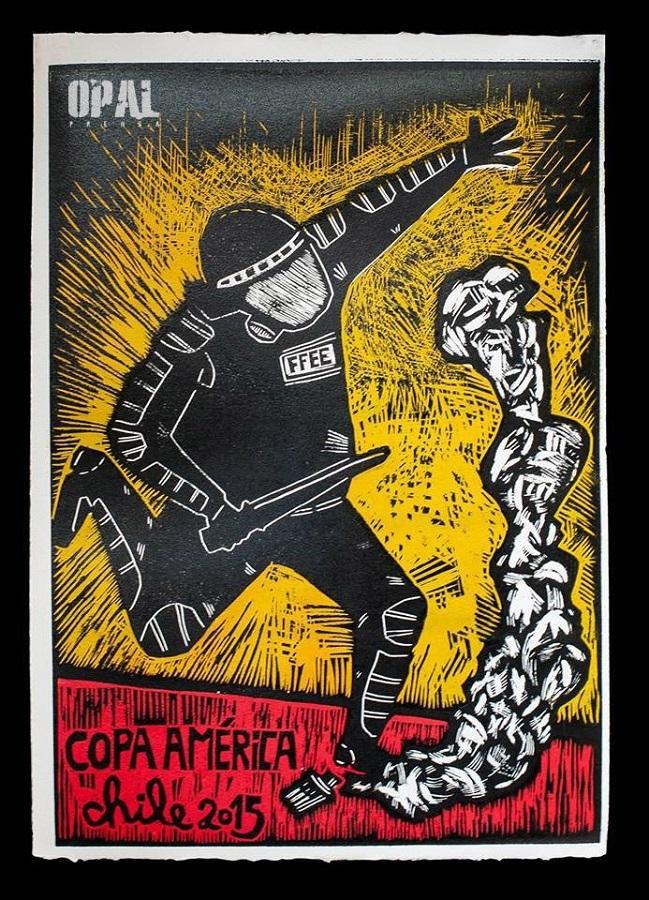 Puntapie inaugural Copa América 2015. Xilografia 50 x 35 cm del artista Pedro Fuentealba
