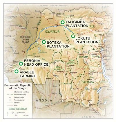 Mapa que muestra las plantaciones de Feronia en RDC (Feronia).
