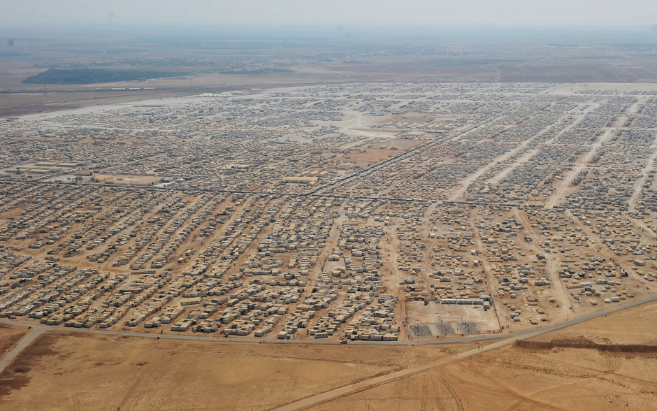 Campo de refugiados de Zaatari, Jordania, en 2013 albergaba no menos de 115 mil personas sirias.