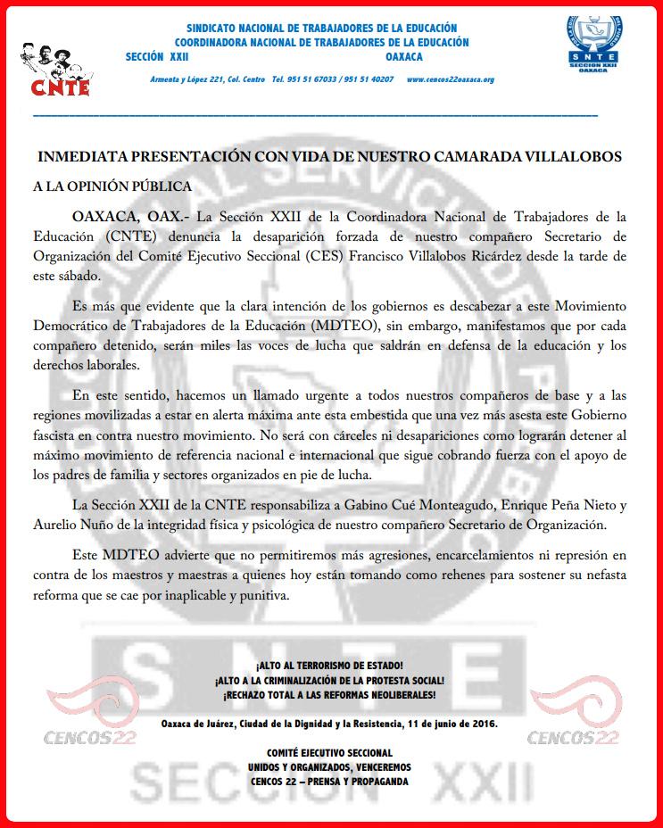 Comunicado CNTE